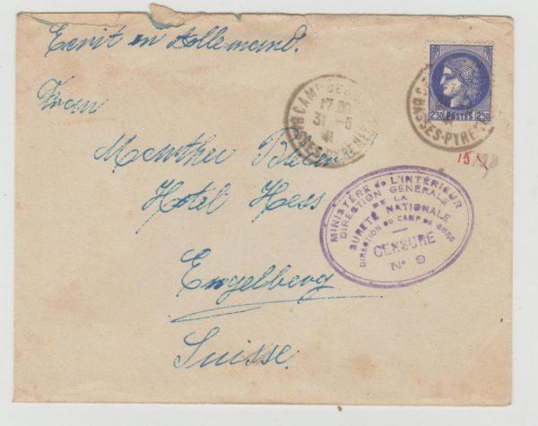 France Camp de Gurs censored 1941