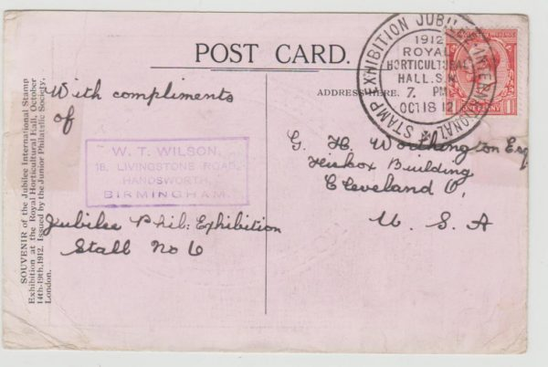 GB KGV 1d on Stamp Exhibition card 1912