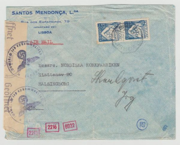 Portugal to Halsingborg 1943 Censored