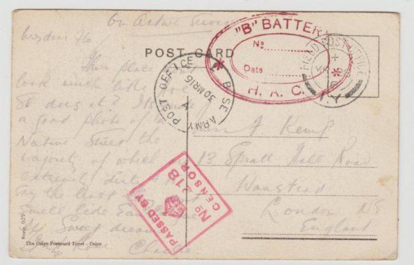 Egypt to London 1916 censored