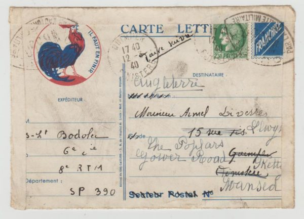 France Letter-card to UK