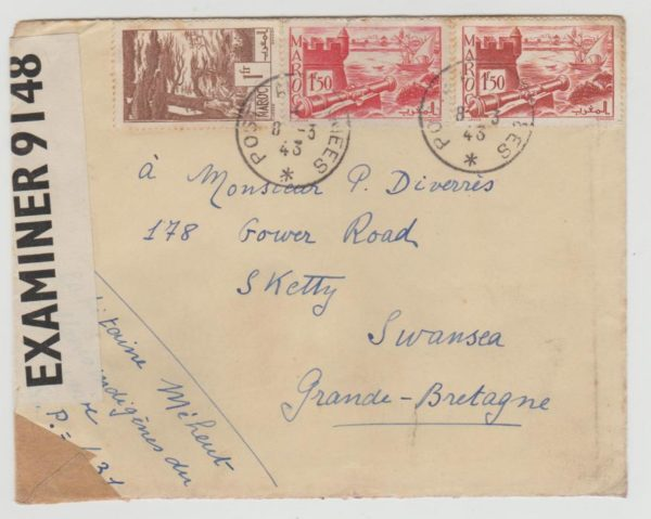 French Morocco to UK 1943 Censored