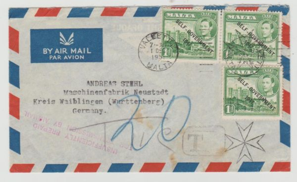 Malta to Germany 1951 Underpaid