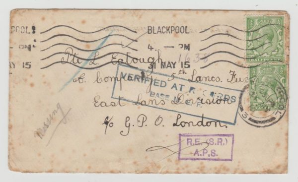 GB WWI Soldier's Card 1915