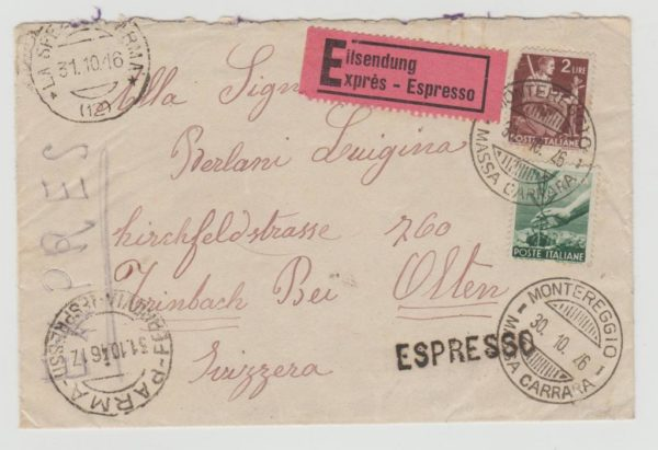 Italy Express letter to Switzerland multifranking 1946