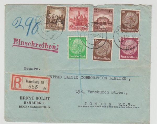 Germany mulitfranked registered envelope 1938