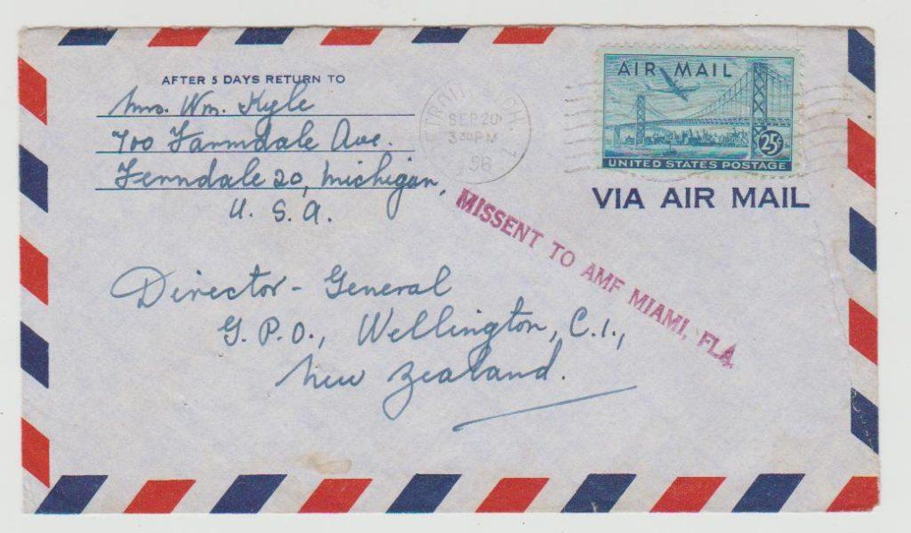 USA Airmail Missent 1956