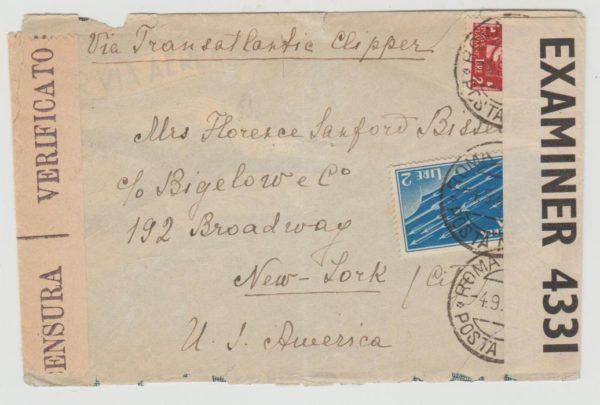Italy Transatlantic Clipper 1945 censored