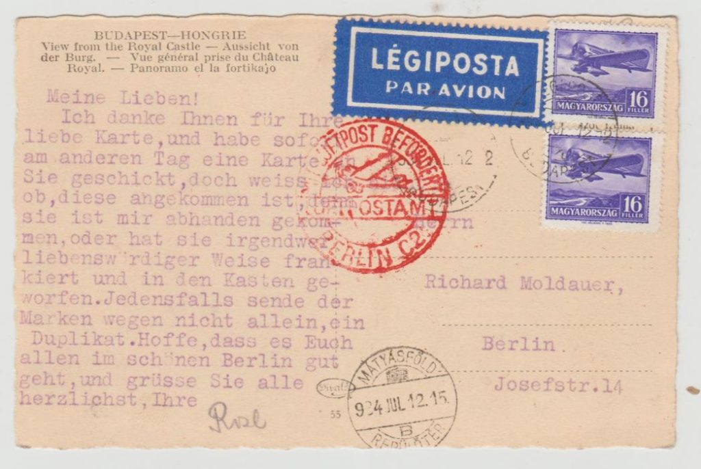 Hungary Airmail postcard to Germany 1934