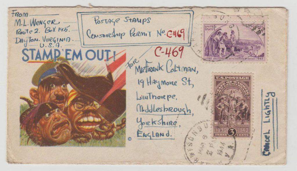 USA censored cartoon envelope 1944