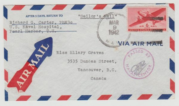 USA 'Sailor's Mail' from Pearl Harbor 1942