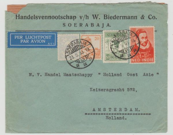 Dutch East Indies Airmail to Amsterdam