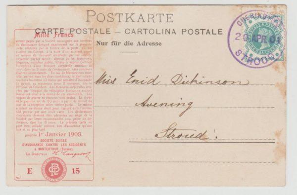 GB violet datestamp on advertising card