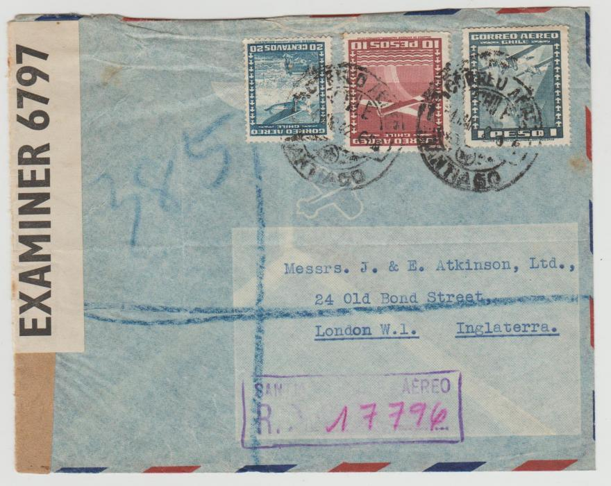 Chile to London censored 1942