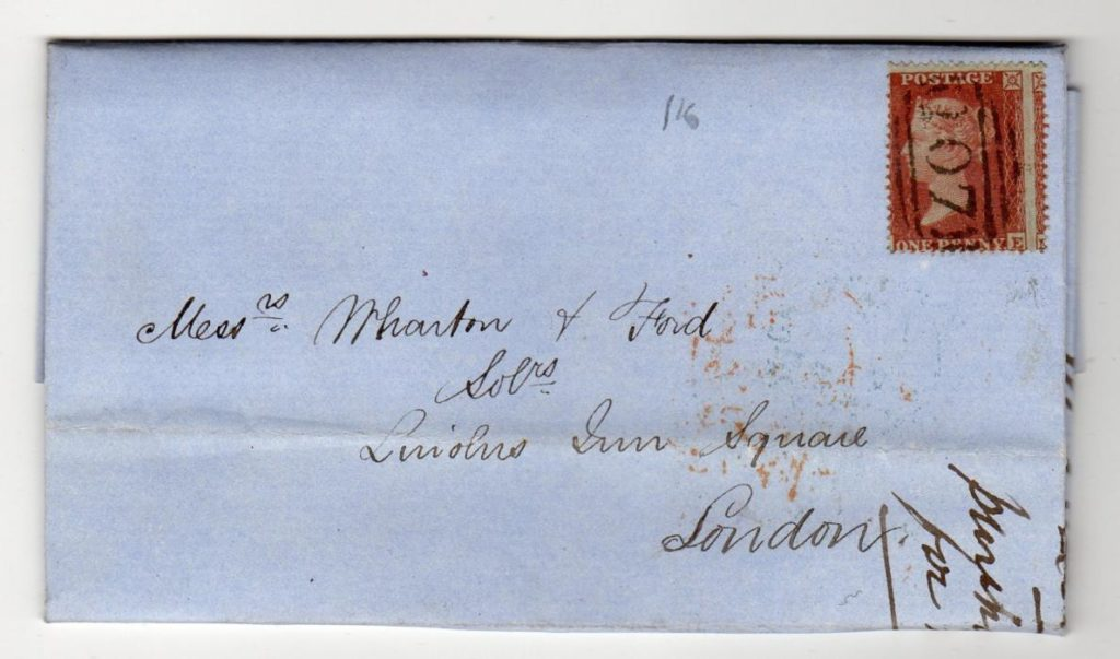 GB - YORKS: 1855 PENNY RED ENTIRE TO LONDON.
