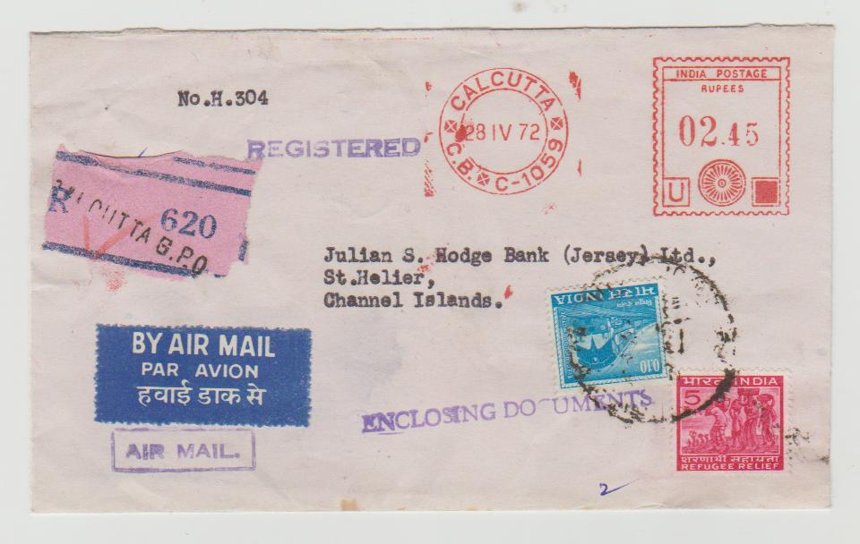 India Registered Airmail with Meter Mark