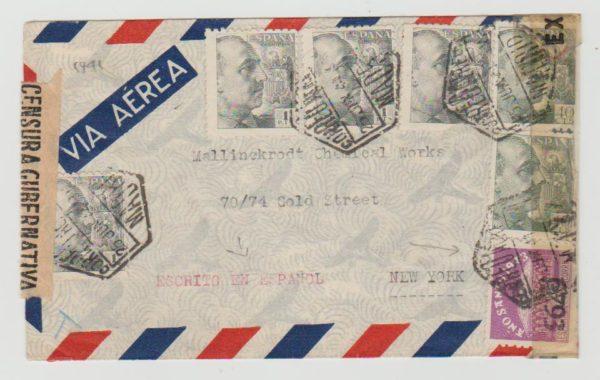 Spain to New York 1944 censored twice