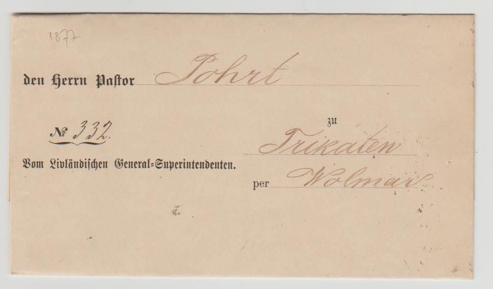 Latvia official mail 1877