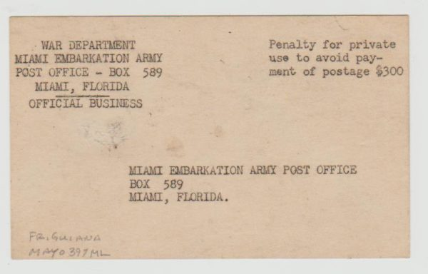 US Military Pouch Mail 1944