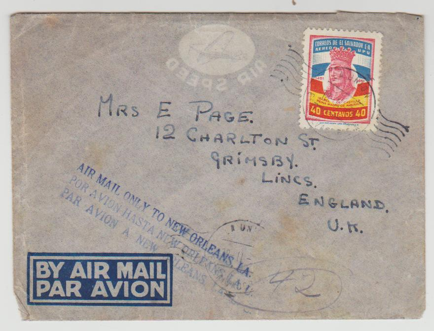 Salvador Airmail to Grimsby 1954