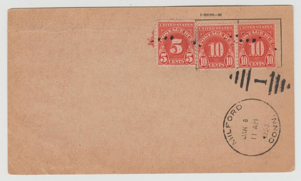 USA Parcel Post docket underpaid 1952