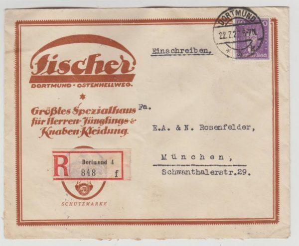 German advertising envelope registered 1927