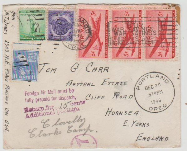 USA Airmail to Yorkshire 1946