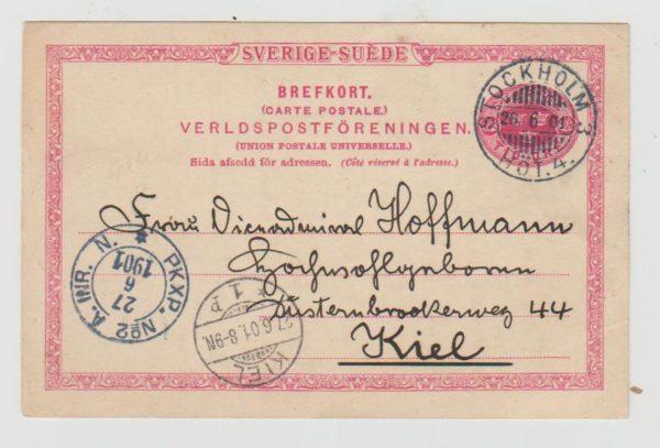 Sweden Postcard to Kiel 1901