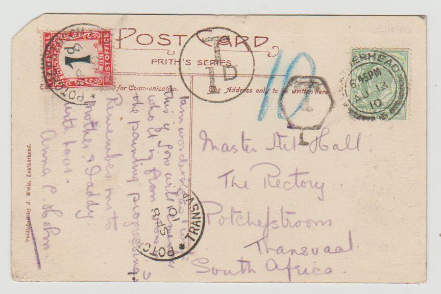GB to Transvaal Postage Due 1910