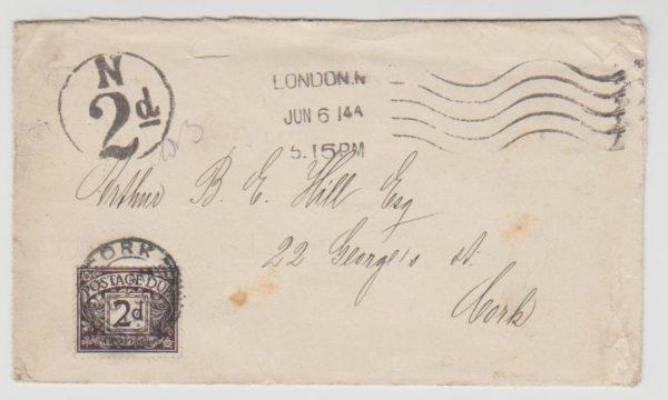 London to Ireland Postage Due 1914