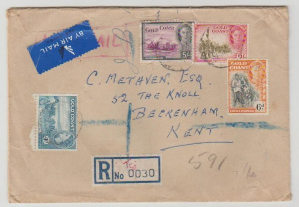 Gold Coast registered airmail 1953