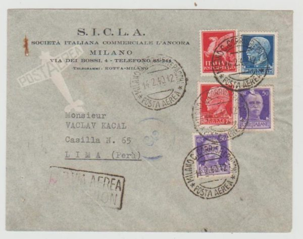 Italy airmail to Peru