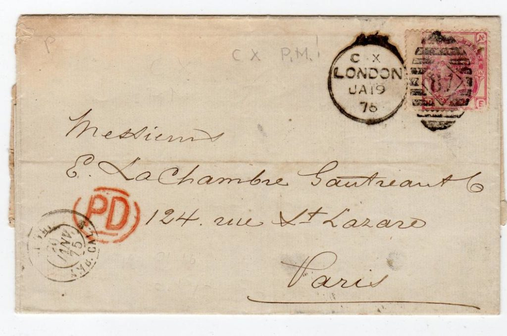 GB - LONDON: 1875 ENTIRE TO FRANCE.