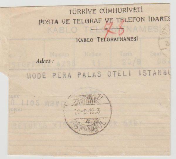 Turkey telegram 1933