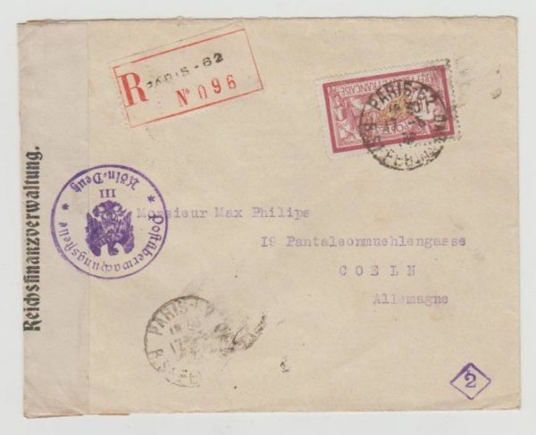 France to Germany with Finance Control cachet 1922