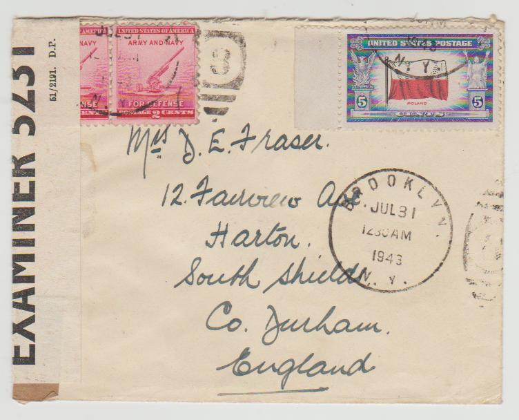 USA to England 1943 censored