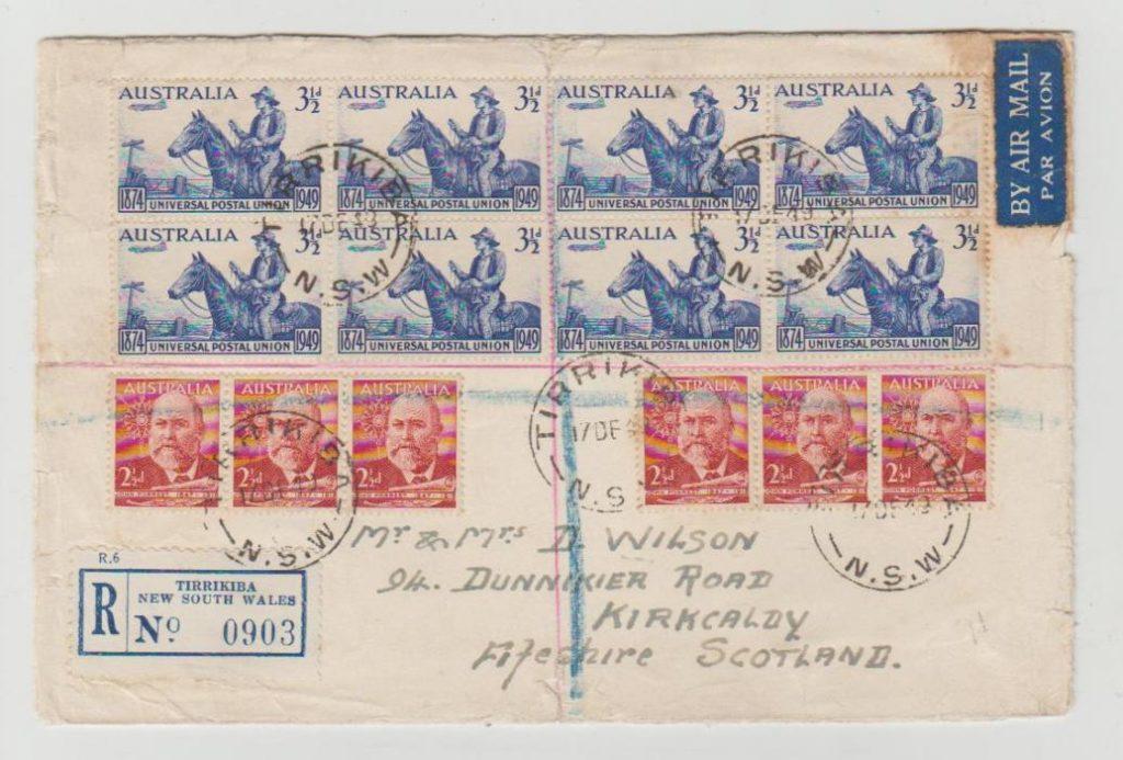 Australia registered airmail 1949