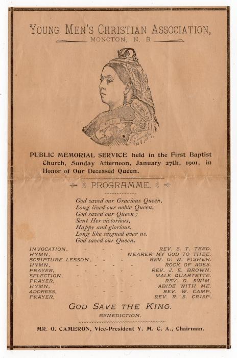 CANADA: 1901 MEMORIAL SERVICE PROGRAMME FOR THE LATE QUEEN VICTORIA.