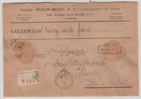 France Valeur Déclarée envelope 1929