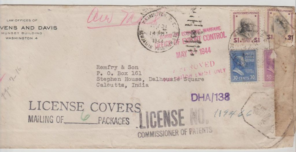 USA postal bulk licence for covers to India 1944