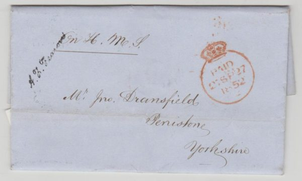 Great Britain OHMS Crowned Paid 1852 to Yorkshire