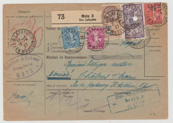 French parcel card 1927