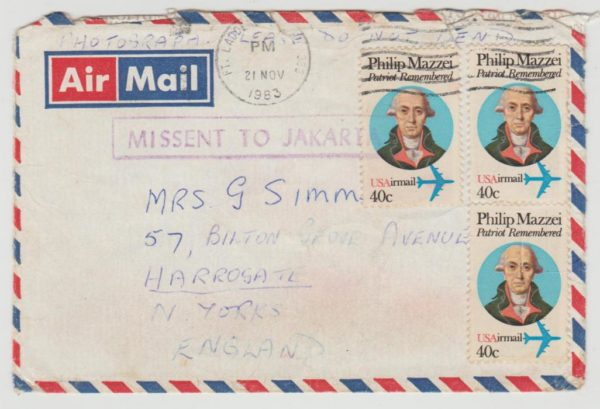 USA to Yorkshire Missent 1983