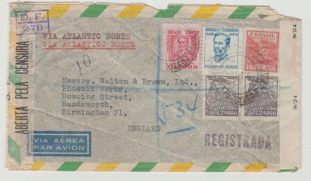 Brazil registered airmail censored 1945
