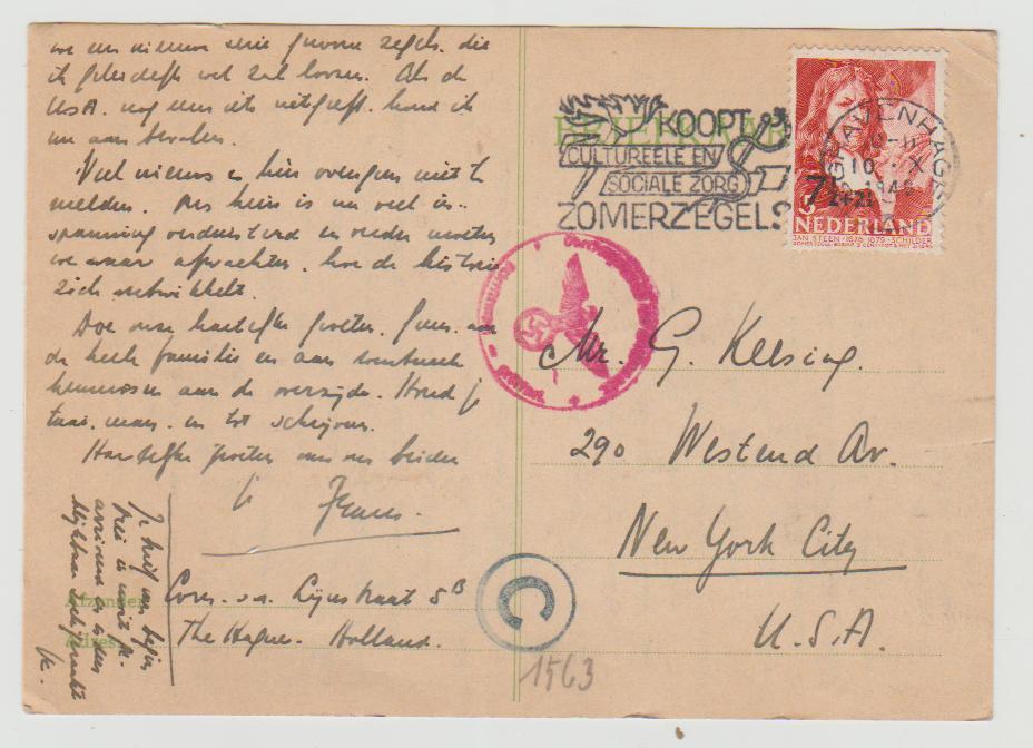 Holland to USA 1940