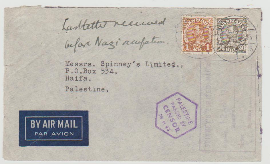 Denmark to Palestine 1940 censored