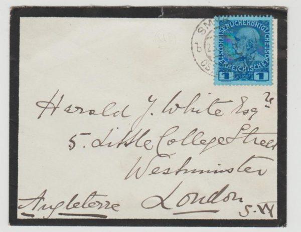 Austrian Levant Smyrna to London 1913