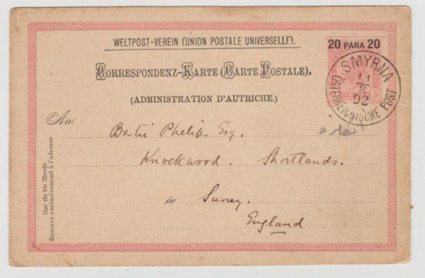 Austrian PO in Smyrna to GB 1892