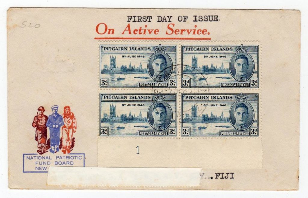 PITCAIRN ISLANDS: 1946 FIRST DAY COVER TO FIJI.