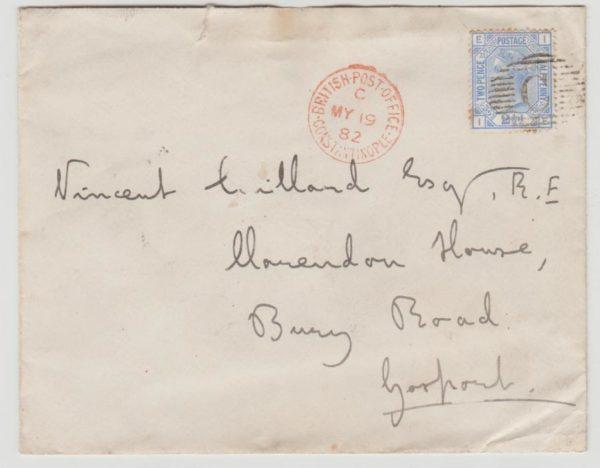 British Post Offices in Turkey to GB 1882